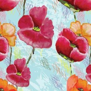 Poppy Ribbons aqua key design