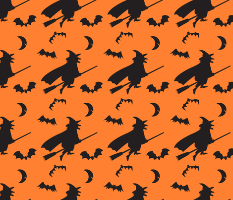 Witches Bats and Moon fabric by lesrubadesigns on Spoonflower - custom fabric