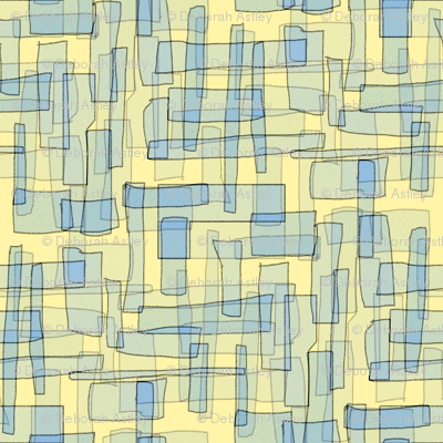 Rectangles in Buttermilk and Forget-Me-Not Blues