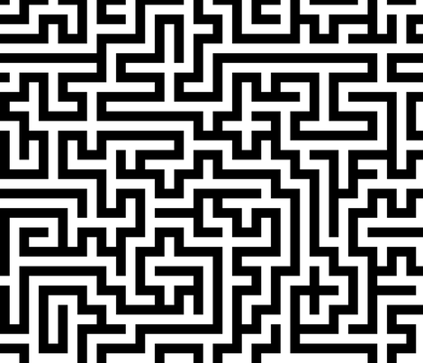 Labyrinth ~  Black and White fabric by peacoquettedesigns on Spoonflower - custom fabric