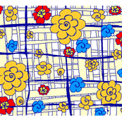 fabric_design_yellow_plaid_flowers