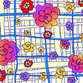 fabric_design_yellow_plaid_purple_blue_red_flowers