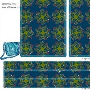 DIY handbag - teal with green motif