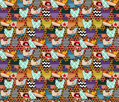 Festive Cincinnati Chickens fabric by scrummy on Spoonflower - custom fabric