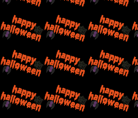 Happy Halloween Bat and Spider fabric by lesrubadesigns on Spoonflower - custom fabric