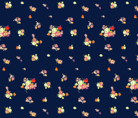 Small Vintage Florals in Pastels+Neons on Navy fabric by theartwerks on Spoonflower - custom fabric