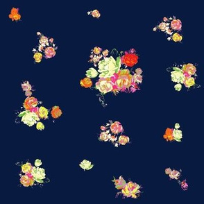Small Vintage Florals in Pastels+Neons //Navy
