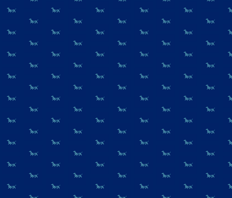 Small Daschund Mint on Navy fabric by theartwerks on Spoonflower - custom fabric