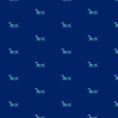 Small Daschund Mint on Navy