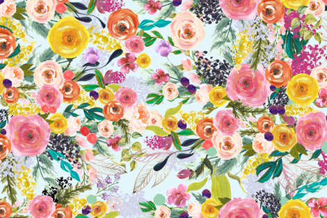 Autumn Blooms Painted Floral // Sky Blue fabric by theartwerks on Spoonflower - custom fabric
