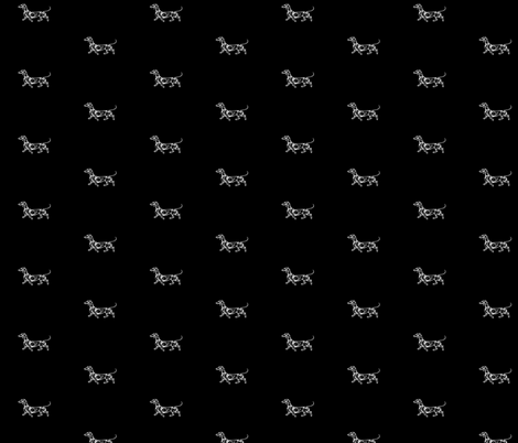 Little Dachshund White on Black