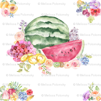 Watercolor Summer Fruits + Flower Bouquet