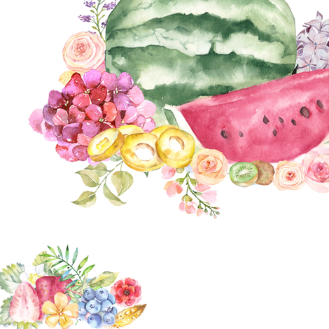 Watercolor Summer Fruits + Flower Bouquet fabric by theartwerks on Spoonflower - custom fabric