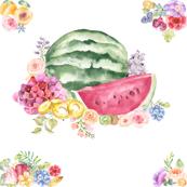 Watercolor Summer Fruits + Flower Bouquet