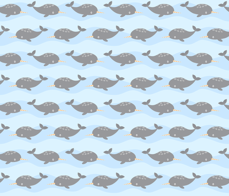 Narwhals fabric by petitspixels on Spoonflower - custom fabric
