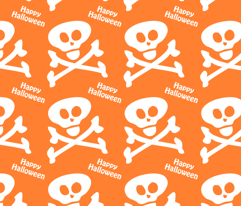 Happy Halloween Skull Crossbones fabric by lesrubadesigns on Spoonflower - custom fabric