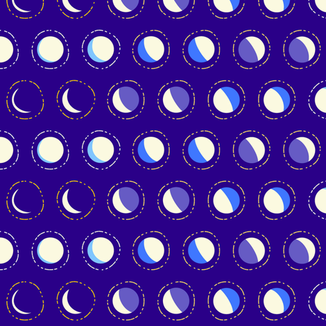 moon phase polka - constellation coordinate fabric by coggon_(roz_robinson) on Spoonflower - custom fabric