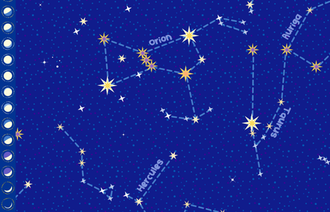 "For Lyra and Cassie - Constellation map (56"") fabric by coggon_(roz_robinson) on Spoonflower - custom fabric"