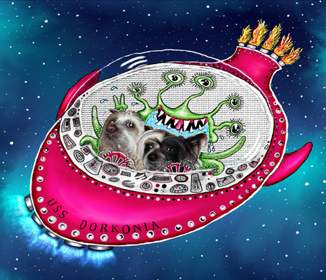 Chinese Crested Hairless Dogs do Space large scale fabric by amy_g on Spoonflower - custom fabric