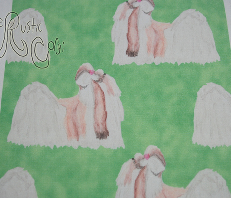 Shih Tzu watercolor profile - green