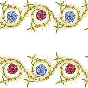 Illuminated Manuscript Flowers and Vines on White