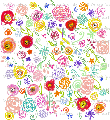Colorful Floral Doodle on White