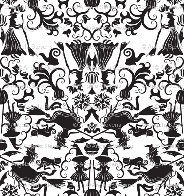 Halloween Witch Damask
