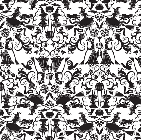 Halloween Witch Damask fabric by mag-o on Spoonflower - custom fabric