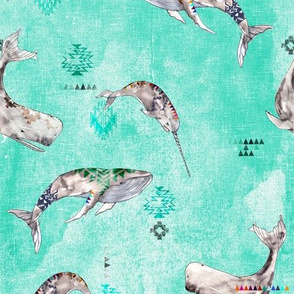 Whale Tribe SMALL (aqua)