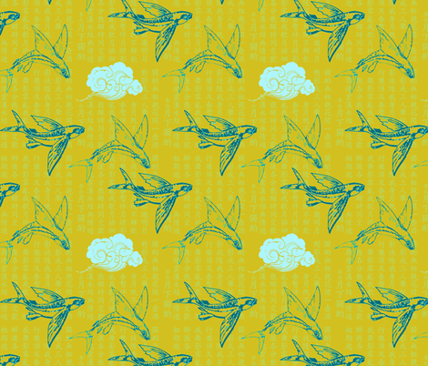 Mandarin Dreaming (in Citron) fabric by nouveau_bohemian on Spoonflower - custom fabric