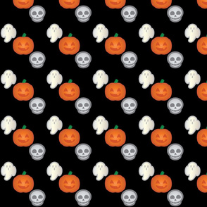 Halloween Retro-Pop Icons - Ghost, Skull, Pumpkin