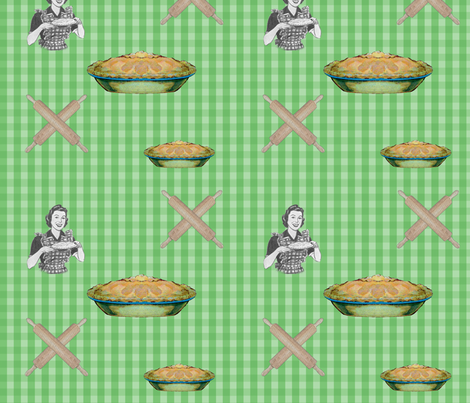 pie_green_check fabric by 13moons_design on Spoonflower - custom fabric
