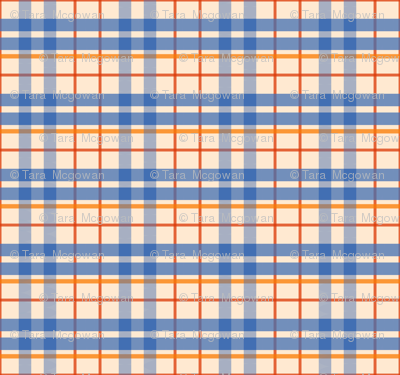 Beige & Blue Plaid