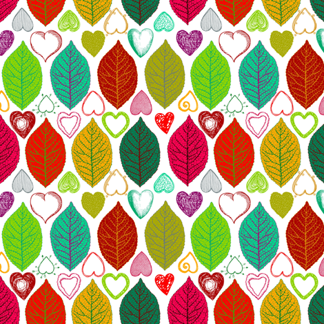 I heart leaves fabric by keweenawchris on Spoonflower - custom fabric