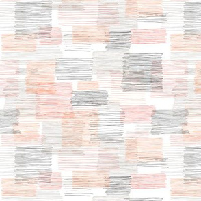 Square Lines - white coral grey