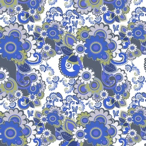 Paisley Plus Daisy (Blue)