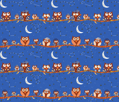 Stargazing Night Owls fabric by arttreedesigns on Spoonflower - custom fabric