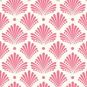 Deco Damask Coral and Cream