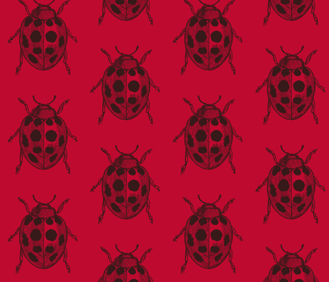 LadyBug, LadyBug - Red  fabric by lisakling on Spoonflower - custom fabric