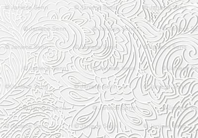 white on white 3Dpaisley
