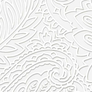 white on white 3Dpaisley