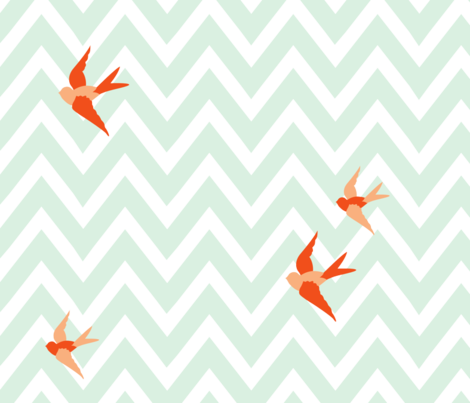 Seaside Love - Chevron (large scale) fabric by lottiefrank on Spoonflower - custom fabric