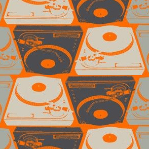 Turntables on orange