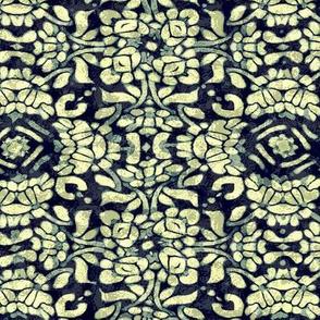 Batik Textured Blue White Floral