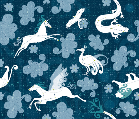 reading between the clouds fabric by liluna on Spoonflower - custom fabric