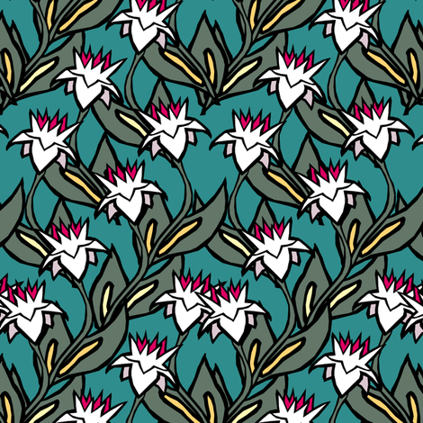 Royal Floral Double II.  fabric by pond_ripple on Spoonflower - custom fabric