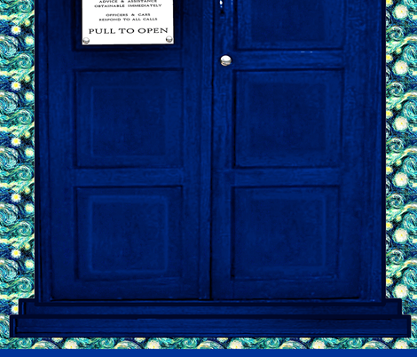 Huge Police Box Door for Curtain Sheet Wall Hanging