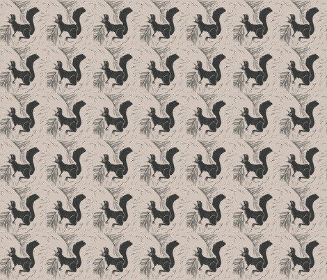Black Squirrel on Beige fabric by bad_penny on Spoonflower - custom fabric