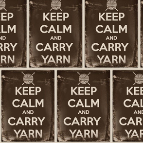 Keep Calm Carry Yarn Knitting - large sepia panel