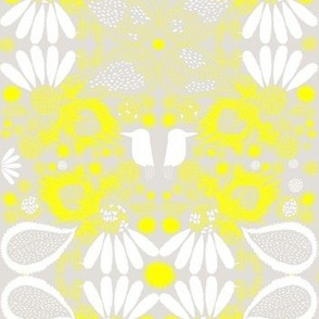 bright yellow/grey kooki print